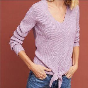 MOTH Tie Front lavender V Neck Sweater